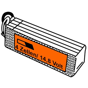 LiPo Akkus mit vier Zellen und 14,8 Volt