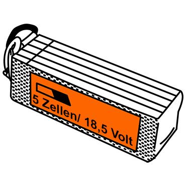 LiPo Akkus mit fünf Zellen und 18,5 Volt