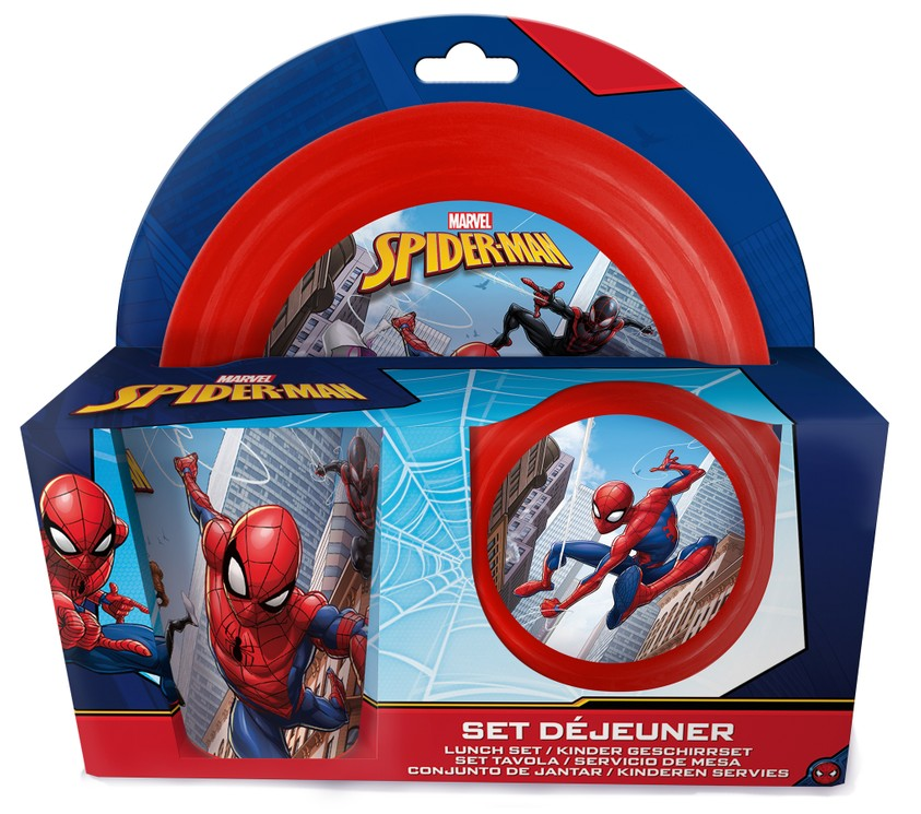 Geschirrset Spiderman mit Müslischale Teller und Trinkbecher Geschirr Set