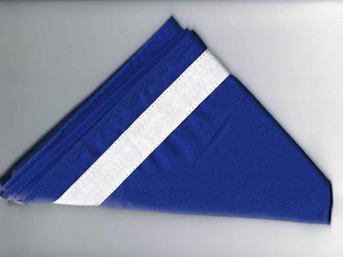 Halstuch / Dreiecktuch 2-farbig blau, weißer Streifen, gesäumt