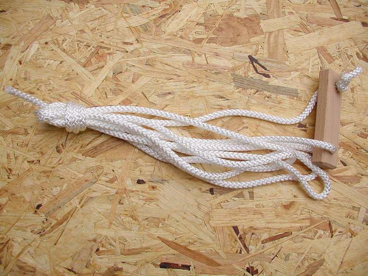 Abspannleinen mit Holzschieber, 400 cm, 6 mm ø weiß