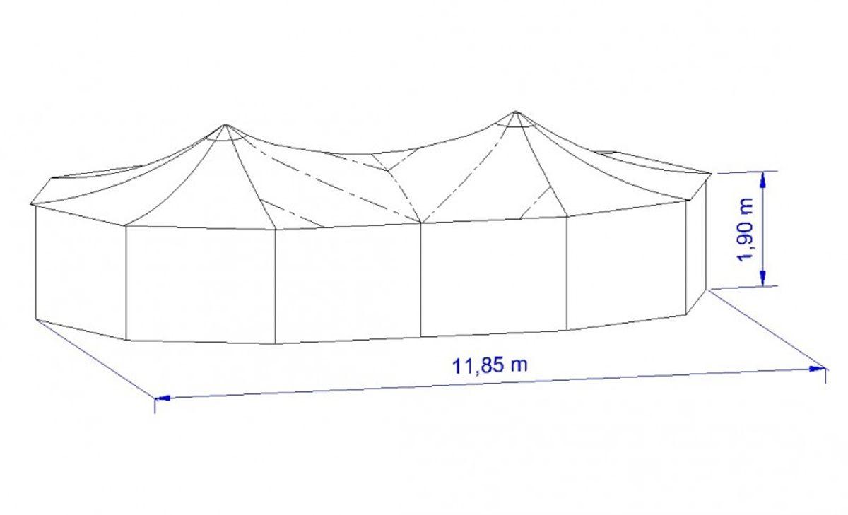 Sattel-Jurte / Theaterjurte - Dach 9-tlg - Rainbow in Schwarz – Bild 2