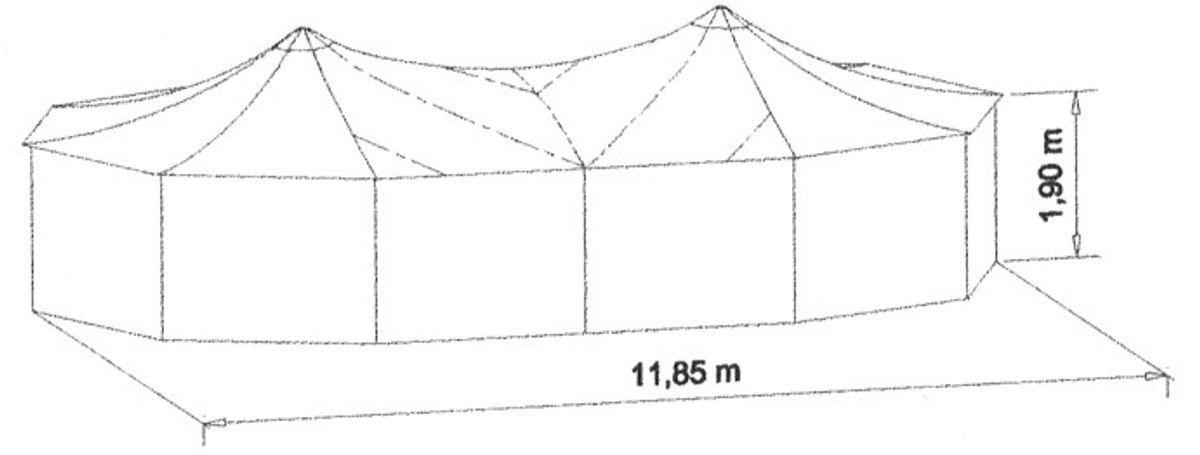 Sattel-Jurte / Theaterjurte - Dach 3-tlg - Rainbow in Rot – Bild 4