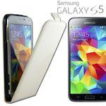 Fliptasche Deluxe Weiss für Samsung Galaxy S5 G900F Tasche S5 Plus G901F