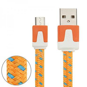 [Paket] 3m USB Daten und Ladekabel Orange für alle Smartphone und Tablet Micro USB