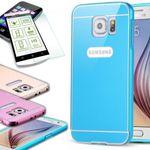 Alu Bumper 2 teilig Blau + 0,3 mm H9 Panzerglas für Samsung Galaxy S6 G920F
