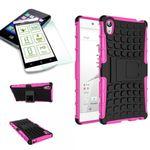 Hybrid Case 2teilig Pink für Sony Xperia Z5 5.2 Zoll + Panzerglas