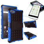 Hybrid Case 2teilig Blau für Sony Xperia Z5 Compact Mini 4.6 Zoll + Hartglas