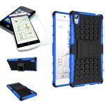 Hybrid Case 2teilig Blau für Sony Xperia Z5 Premium 5.5 Zoll + Hartglas