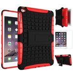 Hybrid Outdoor Schutzhülle Rot für iPad Mini 4 Tasche + 0.3 H9 Hartglas
