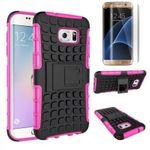 Hybrid Case 2teilig Pink für Samsung Galaxy S7 Edge G935F + Panzerfolie
