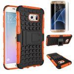Hybrid Case 2teilig Orange für Samsung Galaxy S7 Edge G935F + Panzerfolie