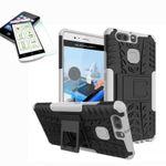 Hybrid Case 2teilig Weiß für Huawei P9 + Hartglas Tasche Hülle Cover