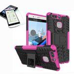 Hybrid Case 2teilig Pink für Huawei P9 + Hartglas Tasche Hülle Cover