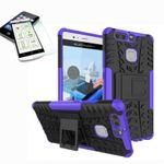 Hybrid Case 2teilig Lila für Huawei P9 + Hartglas Tasche Hülle Cover