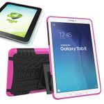 Hybrid Outdoor Tasche Pink für Samsung Galaxy Tab E 9.6 SM T560 + 0.4 Hartglas