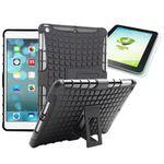 Hybrid Outdoor Schutzhülle Schwarz für iPad Air 1 Tasche + 0.4 H9 Panzerglas