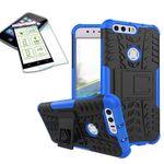 Hybrid Case 2teilig Blau für Huawei Honor 8 + Panzerglas Tasche Hülle Cover