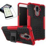 Hybrid Case 2teilig Rot für Huawei Mate 9 + Hartglas Tasche Hülle Cover