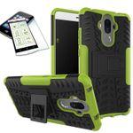 Hybrid Case 2teilig Grün für Huawei Mate 9 + Hartglas Tasche Hülle Cover