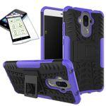 Hybrid Case 2teilig Lila für Huawei Mate 9 + Hartglas Tasche Hülle Cover