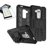 Hybrid Case 2teilig Schwarz für Huawei Nova Plus + Panzerglas Tasche Hülle Cover
