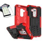 Hybrid Case 2teilig Rot für Huawei Nova Plus + Panzerglas Tasche Hülle Cover