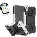 Hybrid Case 2teilig Weiß für Sony Xperia XA1 Tasche Hülle + Panzerglas