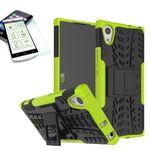 Hybrid Case 2teilig Grün für Sony Xperia XA1 Tasche Hülle + Hartglas