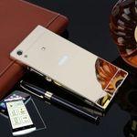Mirror Alu Bumper 2 teilig Gold + 0,3 mm H9 Panzerglas für Sony Xperia XA1 G3112 G3121