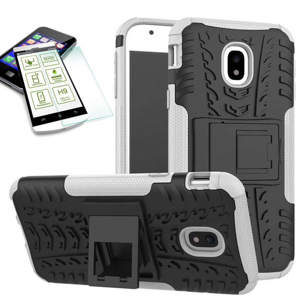 new arrival aabf5 e70c5 Hybrid case 2 piece white for Samsung Galaxy J5 2017 J530F + bulletproof  glass