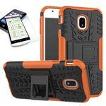 Hybrid Case 2teilig Orange für Samsung Galaxy J5 2017 J530F + Panzerglas