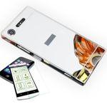 Mirror Alu Bumper 2 teilig Silber + 0,3 mm H9 Hartglas für Sony Xperia XZ1 Compact / Mini