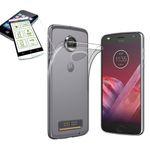 Silikoncase Transparent + 0,3 H9 Hartglas für Motorola Moto Z2 Play Tasche Hülle Neu