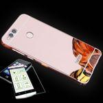 Mirror / Spiegel Alu Bumper 2 teilig Pink + 0,3 mm H9 Hartglas für Huawei Honor 7X