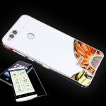 Mirror / Spiegel Alu Bumper 2 teilig Silber + 0,3 mm H9 Hartglas für Huawei Honor 7X