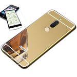 Mirror / Spiegel Alu Bumper 2 teilig Gold + 0,3 mm H9 Hartglas für Huawei Honor View 10 / V10