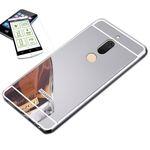 Alu Bumper 2 teilig Silber + 0,3 H9 Glas für Huawei Honor View 10 / V10 Tasche