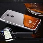Mirror / Spiegel Alu Bumper 2 teilig Silber + 0,3 mm H9 Hartglas für Xiaomi Redmi 5