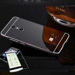 Mirror / Spiegel Alu Bumper 2 teilig Schwarz + 0,3 mm H9 Hartglas für Sony Xperia XA2