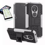 Für Motorola Moto G6 Play / E5 Hybrid Case 2teilig Weiß + Panzerglas Tasche Hülle Cover Hülle