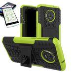 Für Motorola Moto G6 Hybrid Case 2teilig Grün + Hartglas Tasche Hülle Cover Hülle