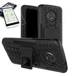 Für Motorola Moto G6 Plus Hybrid Case 2teilig Schwarz + Hartglas Tasche Hülle Cover Hülle