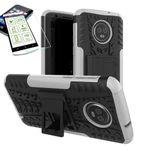 Für Motorola Moto G6 Plus Hybrid Case 2teilig Weiß + Hartglas Tasche Hülle Cover Hülle