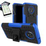 Für Motorola Moto G6 Plus Hybrid Case 2teilig Blau + Hartglas Tasche Hülle Cover Hülle