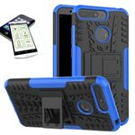 Für Huawei Y6 2018 Hybrid Case 2teilig Blau + Hartglas Tasche Hülle Cover Hülle