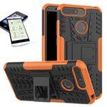 Für Huawei Y6 2018 Hybrid Case 2teilig Orange + Hartglas Tasche Hülle Cover Hülle