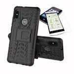 Für Xiaomi Redmi Note 5 Hybrid Case 2teilig Schwarz + Panzerglas Tasche Hülle Cover Hülle