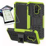 Hybrid Case 2teilig Grün für Samsung Galaxy A6 A600 2018 + Hartglas Tasche Hülle Cover
