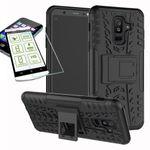 Hybrid Case 2teilig Schwarz für Samsung Galaxy A6 Plus A605 2018 + Hartglas Tasche Hülle Cover
